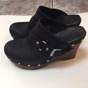UGG Black Leather Natalee Wood Heel Clog